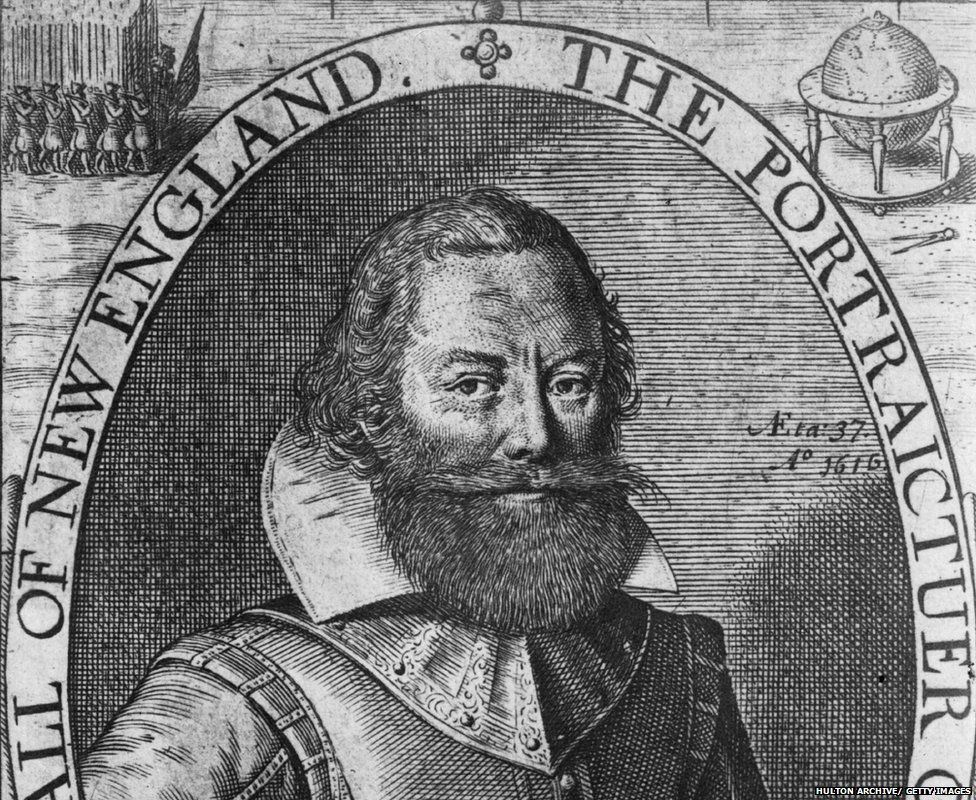 A portrait of John Smith from 1616