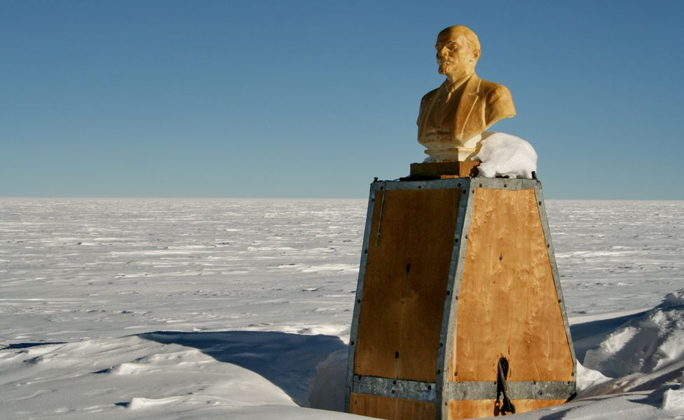 Bust of Lenin at the Southern Pole of inaccessibility
