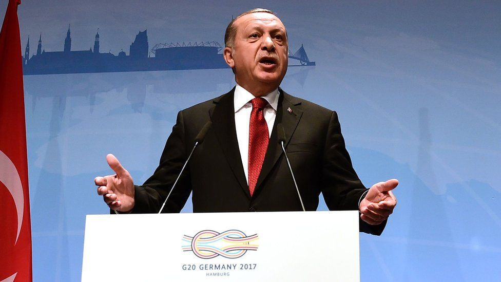 Turkey's President Recep Tayyip Erdogan attends the final press conference on the second day of the G20 Summit in Hamburg, Germany, 8 July 2017