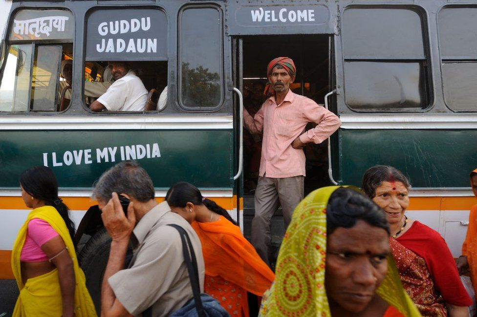 Pilgrims on the way to Kumbh Mela in the Holy City of Haridwar. Haridwar, located in the foothills of Himalaya, is an important center of pilgrimage for Hindus on February 10, 2010 in India.
