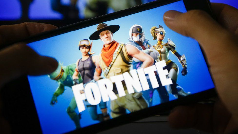 Fortnite being played on a mobile phone