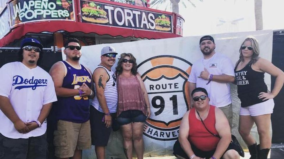 Crystal Huber (right) with family and friends at Route 91