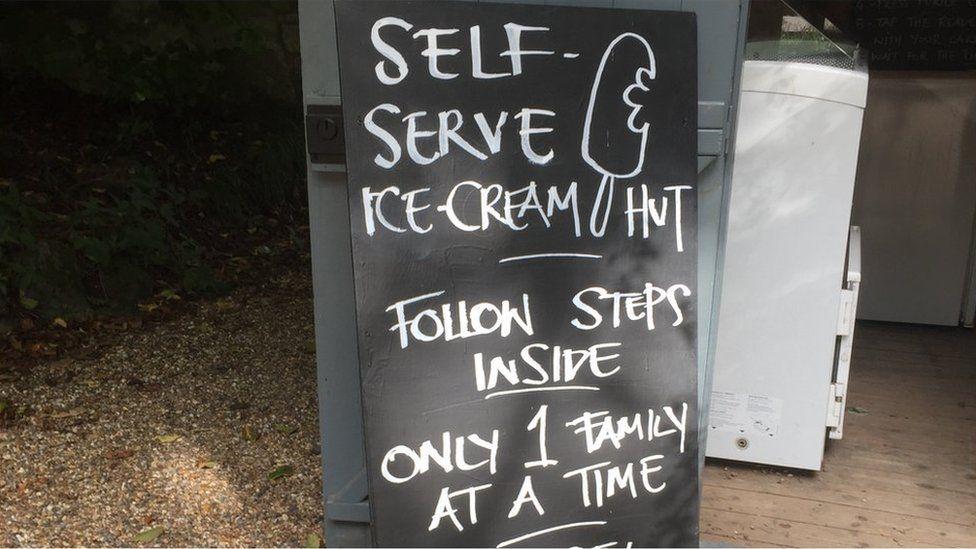 Ice cream self-service sign