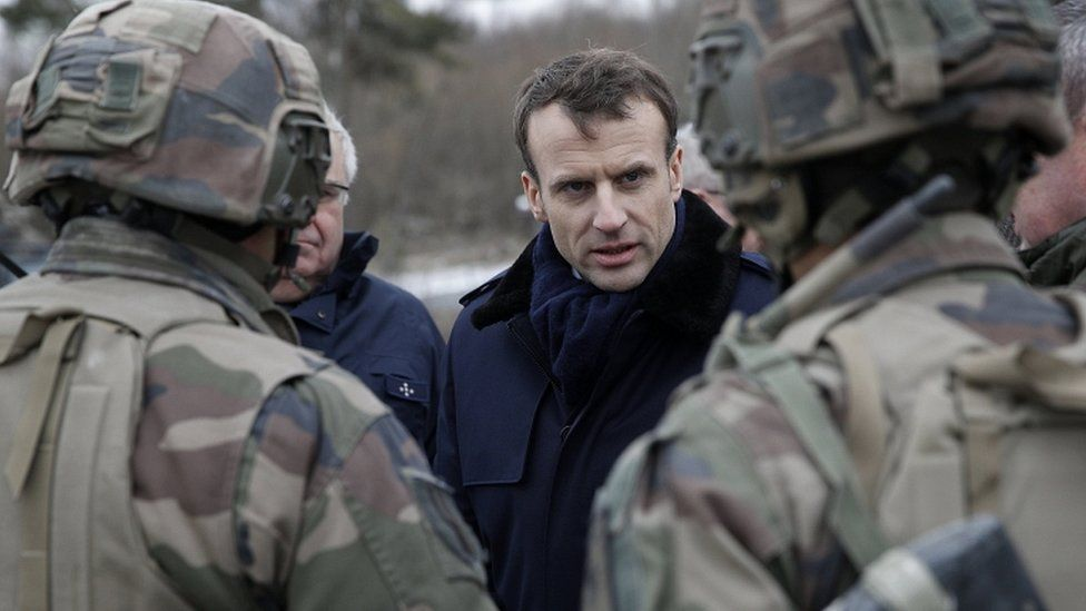 Emmanuel Macron meeting French forces