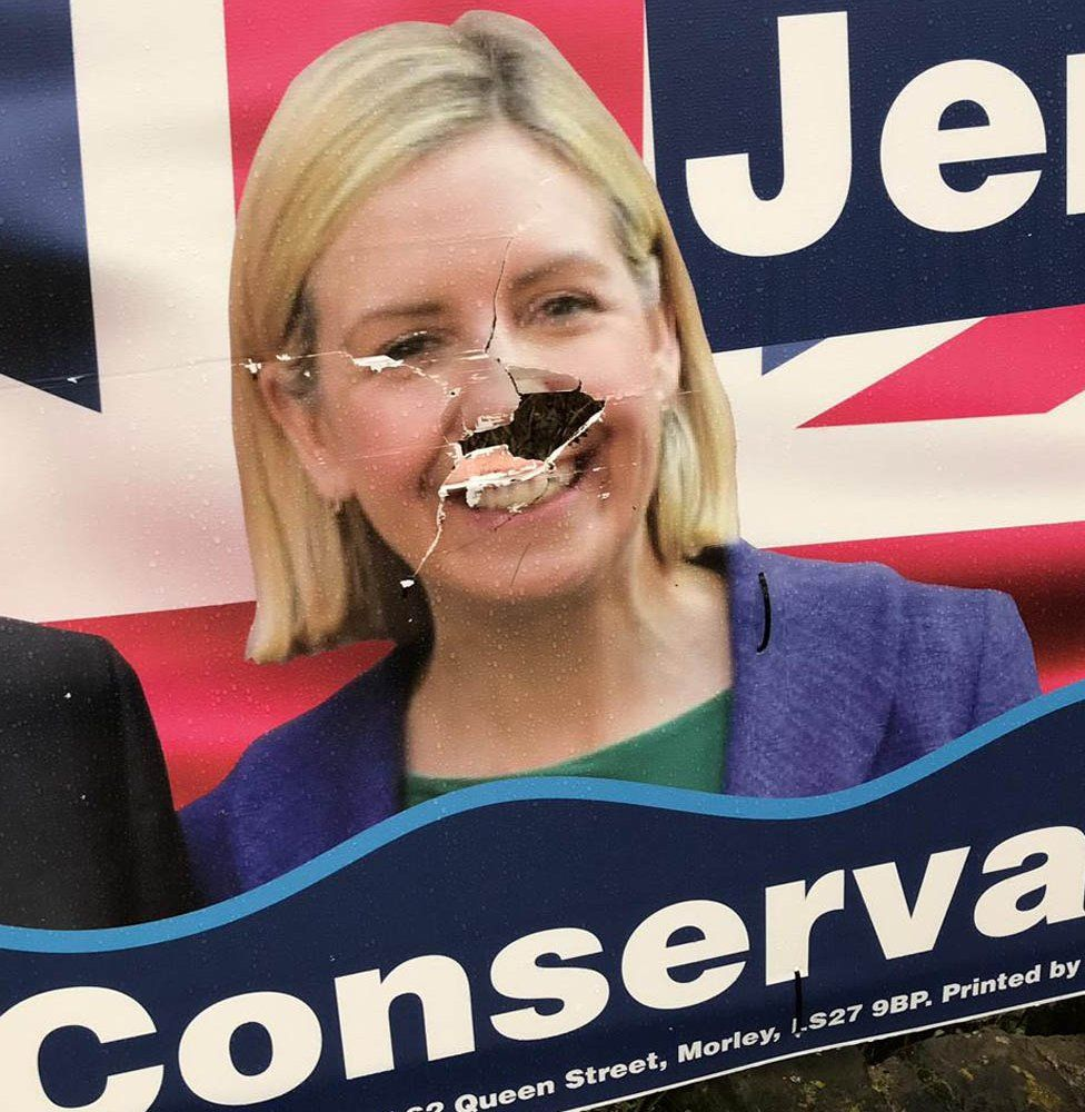 Defaced poster of Andrea Jenkyns