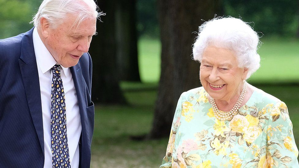 Sir David Attenborough and the Queen in 2018