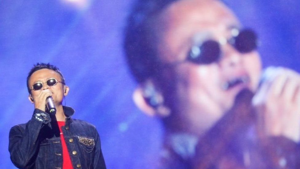 Jack Ma, Executive Chairman of Alibaba Group, performs during Yunqi Music Festival as part of the Computing Conference in Yunqi Town of Hangzhou, Zhejiang province (12 October 2017)