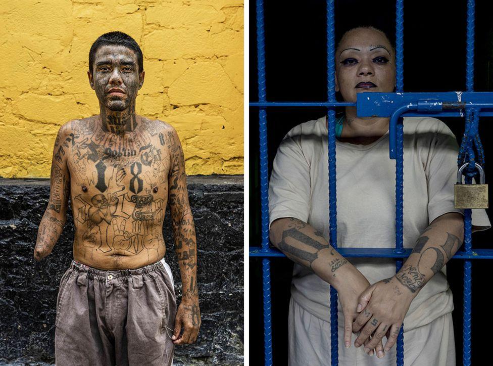 Carlos, last name not given, (38) stands for a photograph at the Penal San Francisco Gótera, El Salvador. November 8, 2018. Right - Portrait of a gang member at the Ilopango Women's Prison, El Salvador. November 6, 2018.