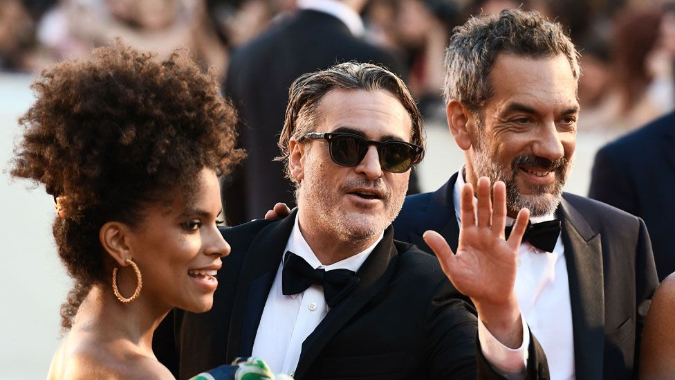 Zazie Beetz, Joaquin Phoenix and Todd Phillips