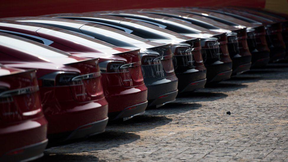 Tesla cars lined up
