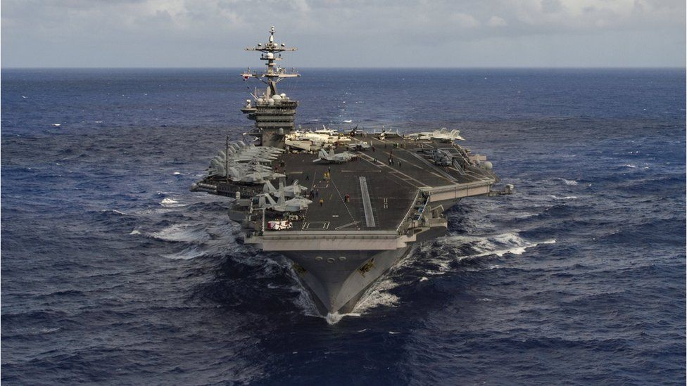 The aircraft carrier USS Carl Vinson sailing in the Pacific Ocean, 30 January 2017.