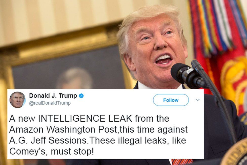 """A picture of Donald Trump, overlaid with one of his tweets reading """"a new INTELLIGENCE LEAK from the Amazon Washington Post,this time against A.G. Jeff Sessions.These illegal leaks, like Comey's, must stop!"""""""