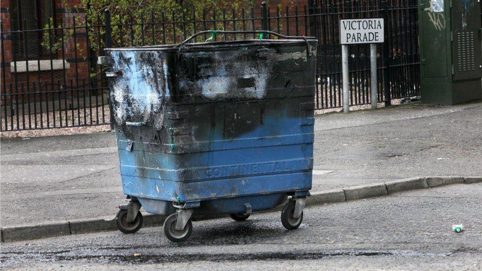 Burnt bin at Victoria Parade