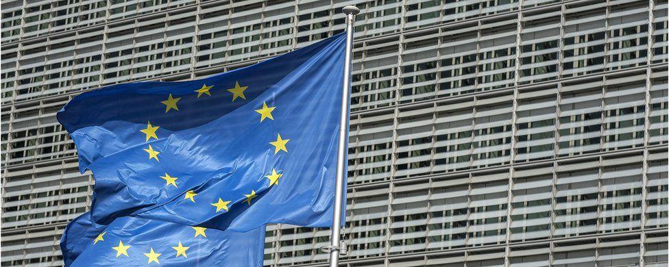EU flag outside the European Commission headquarters