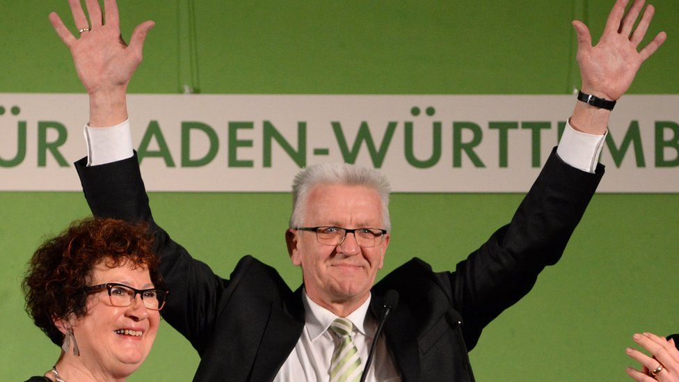 Green Party Premier Winfried Kretschmann, of the state of Baden-Wuerttemberg addresses supporters. 13 March 2016