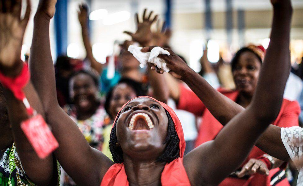 Christians dancing at the Nazareth Evangelical Church in Libreville, Gabon - Sunday 4 September 2016
