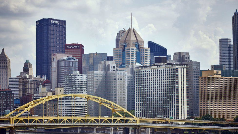 A general view of the Pittsburgh skyline is seen during an NFL football game between the Minnesota Vikings and the Pittsburgh Steelers on September 17, 2017 at Heinz Field in Pittsburgh, PA.