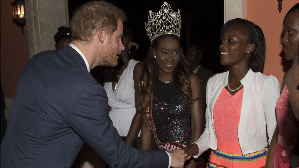 Prince Harry shakes hands with guest