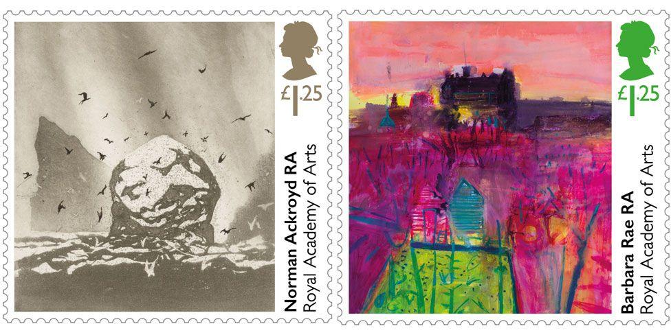 Norman Ackroyd and Barbara Rae stamps