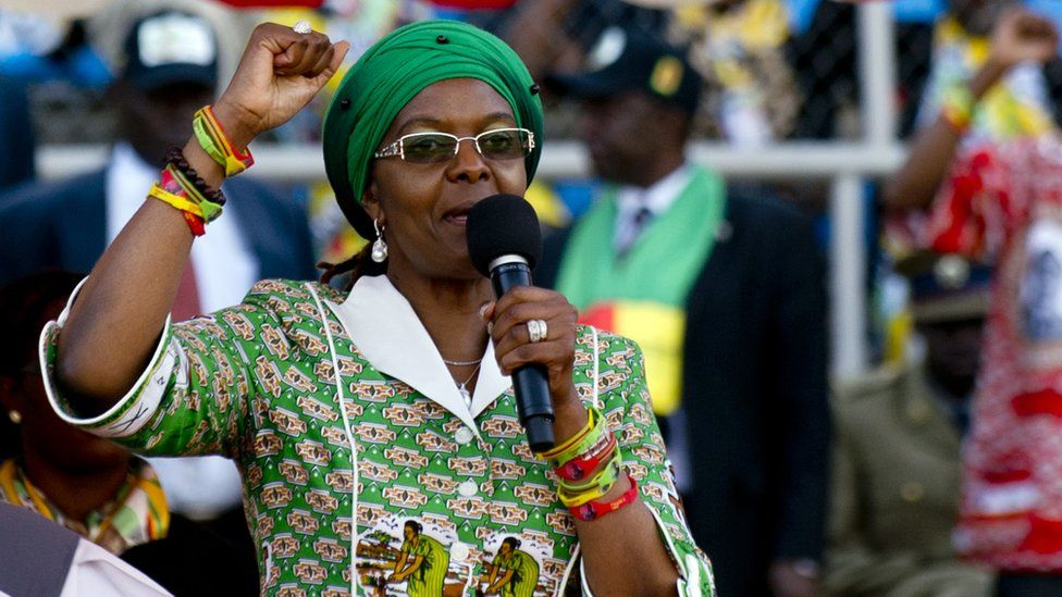 Grace Mugabe raising her fist during a speech at a rally