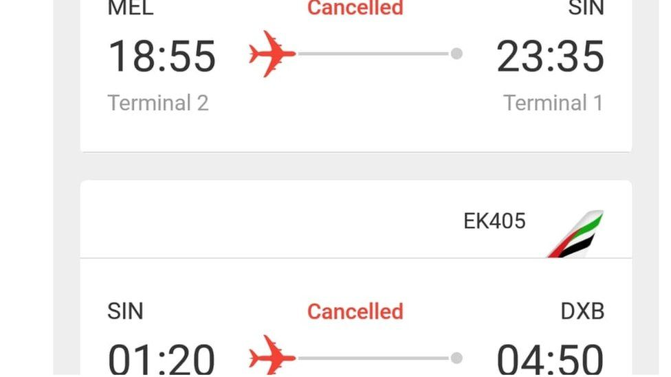 Cancelled flights from Melbourne to London