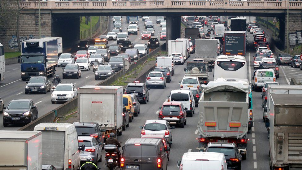 Rush hour traffic fills the ring road in Paris as a strike by French transportation workers continues on 6 December, 2019.