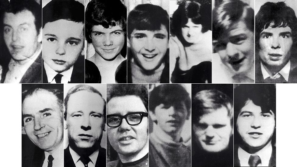Top row, from left to right: Patrick Doherty, Gerald Donaghey, John Duddy, Hugh Gilmour, Michael Kelly, Michael McDaid, Kevin McElhinney. Bottom row, from left to right: Bernard McGuigan, Gerard McKinney, William McKinney, William Nash, James Wray, John Young