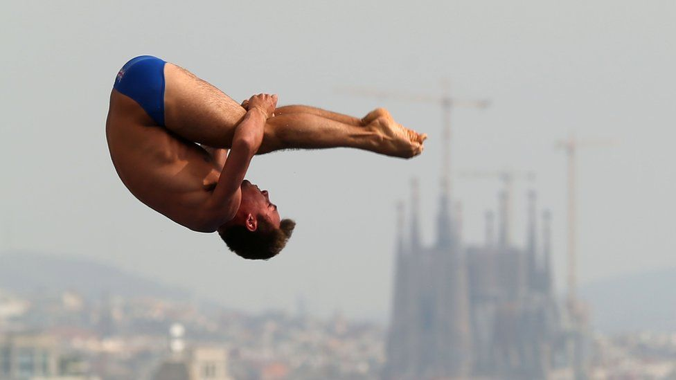 Tom Daley diving in Barcelona for the FINA World Championships in July 2013
