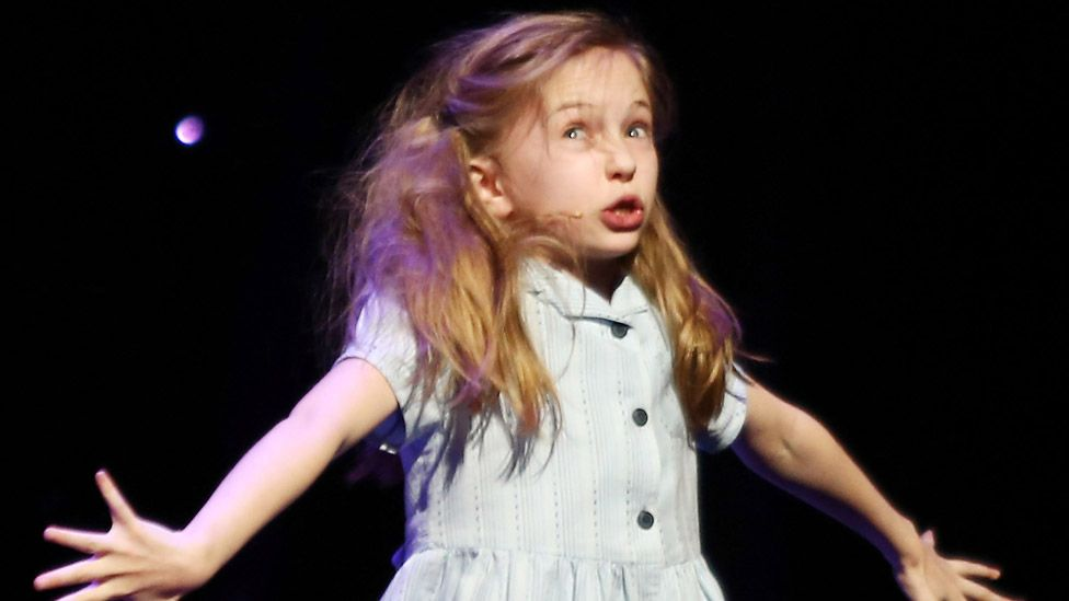 Sophia Kiely from Matilda The Musical performs onstage at the 2012 Olivier Awards at The Royal Opera House