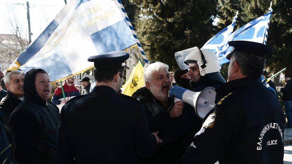 Oraiokastro protest against refugees, 20 Feb 17