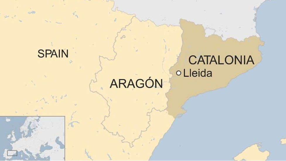 Map of Spain highlighting Aragon and Catalonia