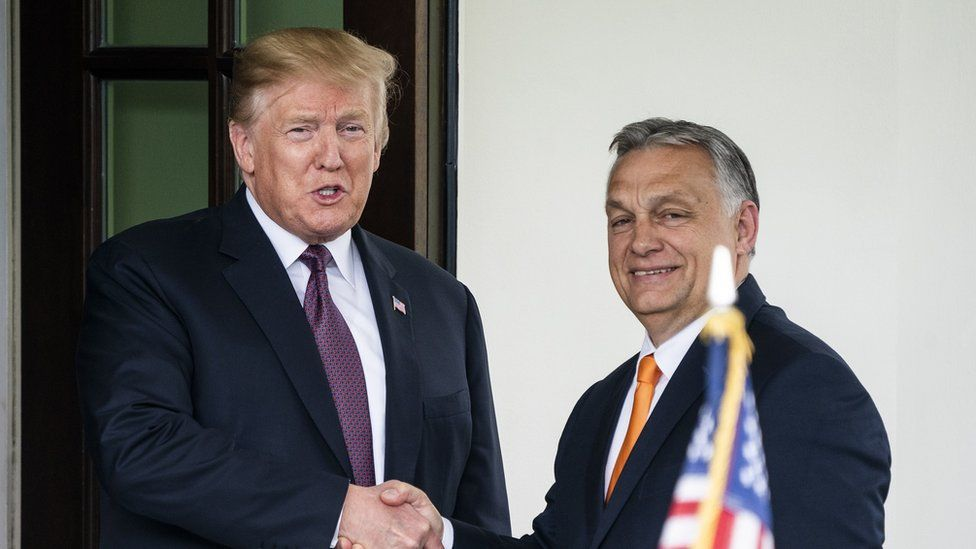 US President Donald J. Trump welcomes Hungarian Prime Minister Viktor Orbán to the White House