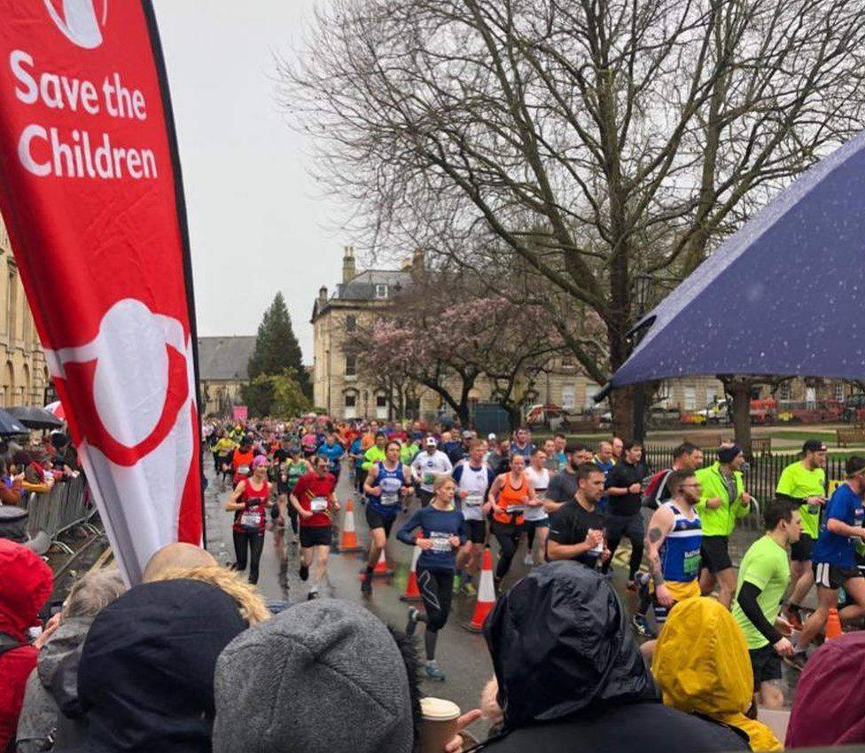 Runners taking part in the Bath half