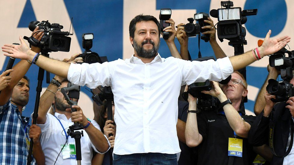 League party leader Matteo Salvini gestures during a rally in Pontida, Italy, 15 September 2019