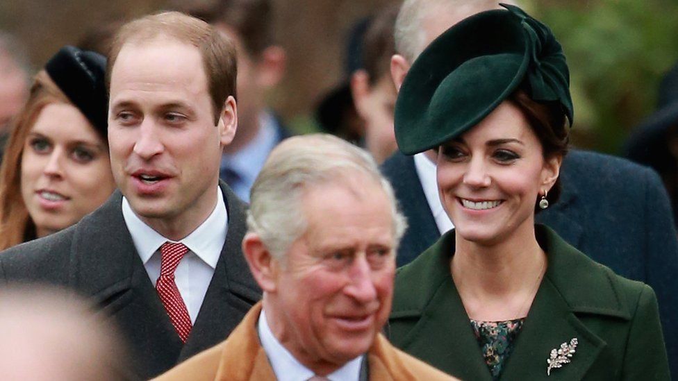 Duke and Duchess of Cambridge and Prince Charles at Sandringham, Christmas 2015