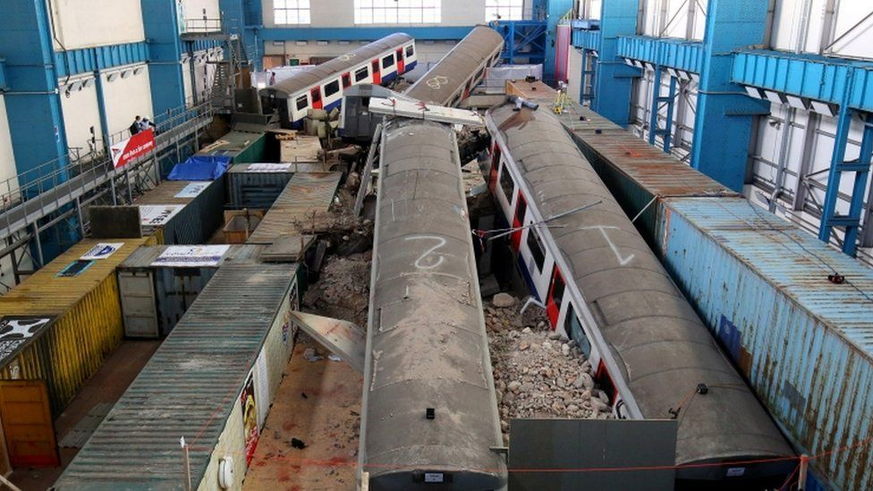 London Underground trains in the disaster training exercise