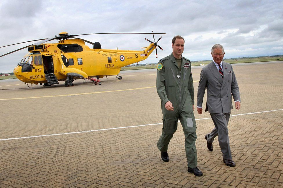 Duke of Cambridge showing the Prince of Wales at RAF Valley on Anglesey