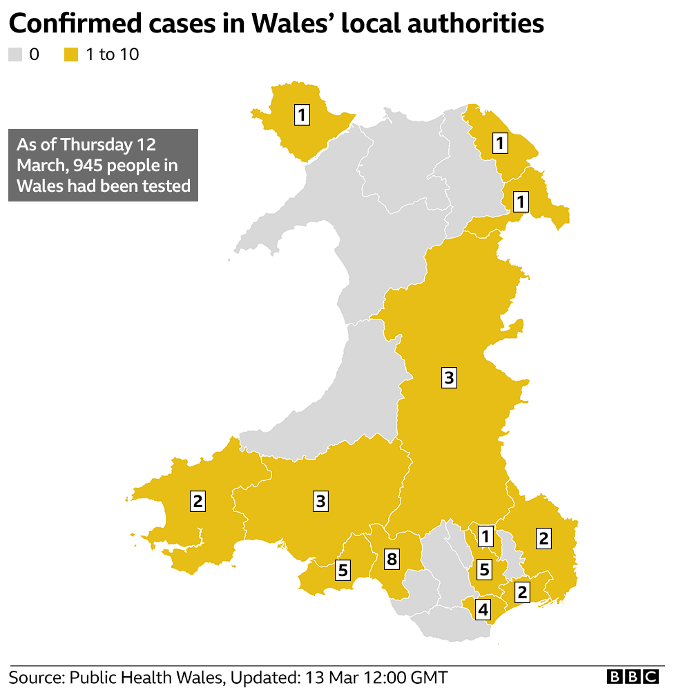 Latest map showing positive tests across Wales