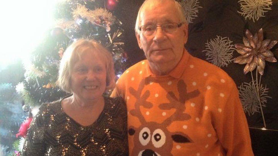 Mavis and Dennis Eccleston at Christmas