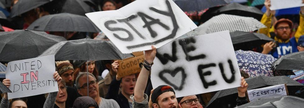 """Signs reading """"stay"""" and """"we love EU"""" at a rally on June 28"""