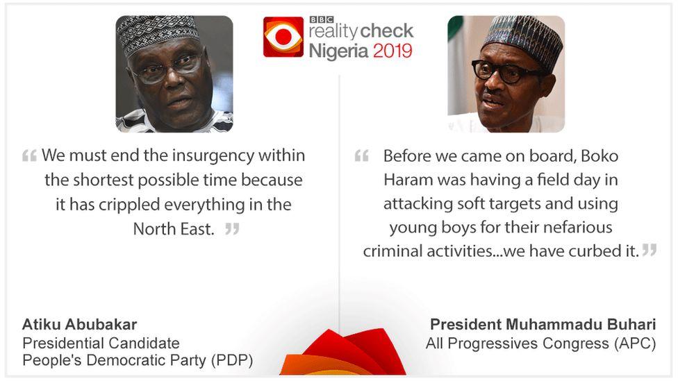 Image of Atiku Abubakar on left, Muhammadu Buhari on right