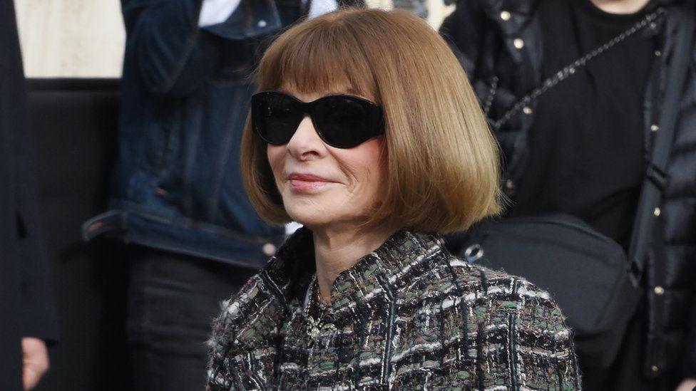 Vogue editor Anna Wintour at Paris Fashion week.