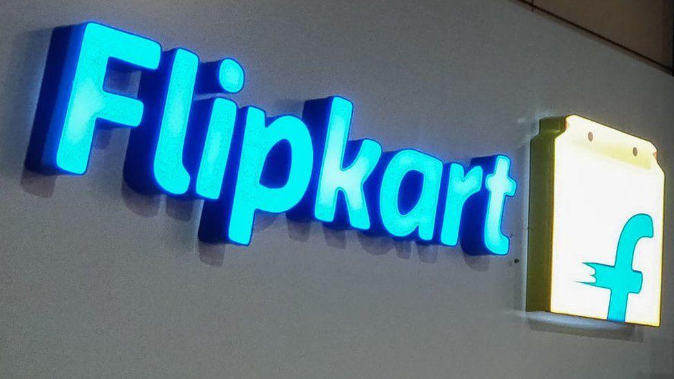 Logo of Indian e-commerce company Flipkart at its headquarters in Bangalore.