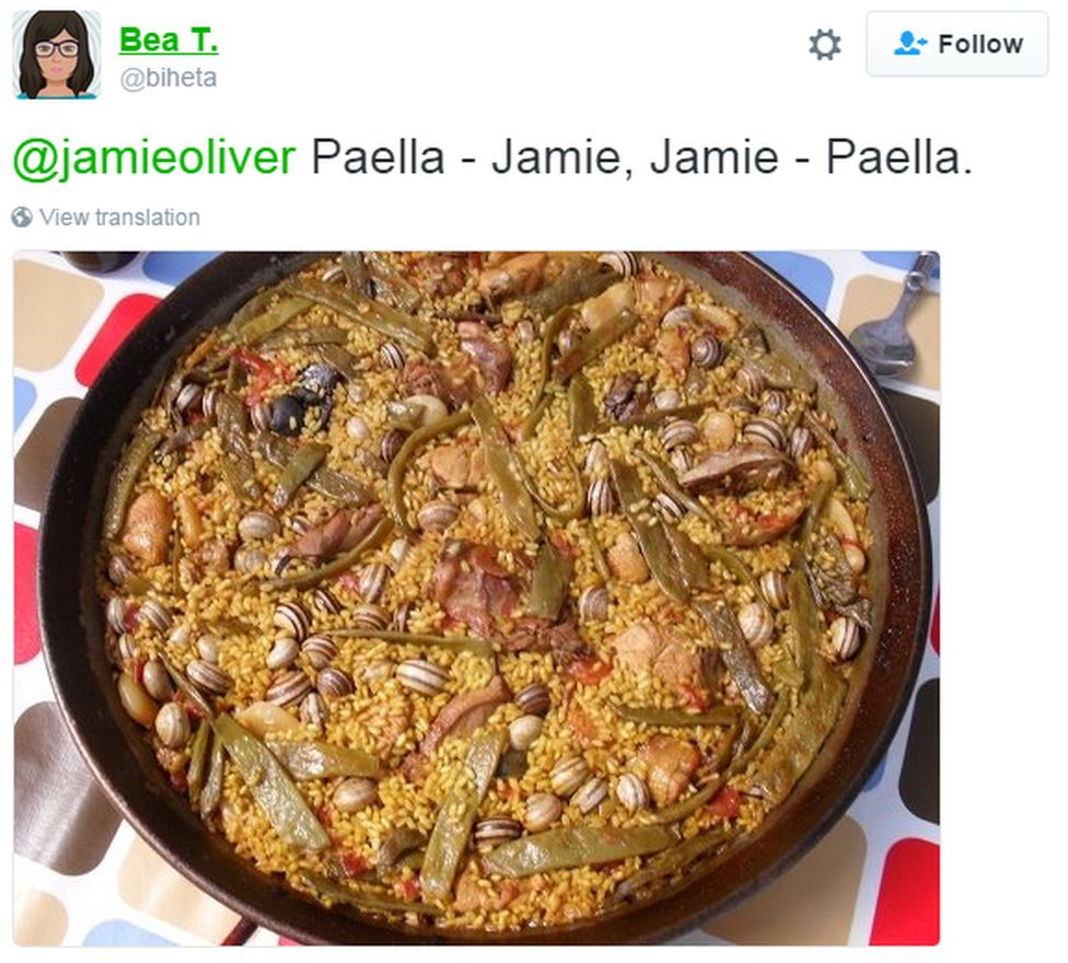 "A tweet reads: ""Paella - Jamie. Jamie - paella"" plus a picture of some paella"