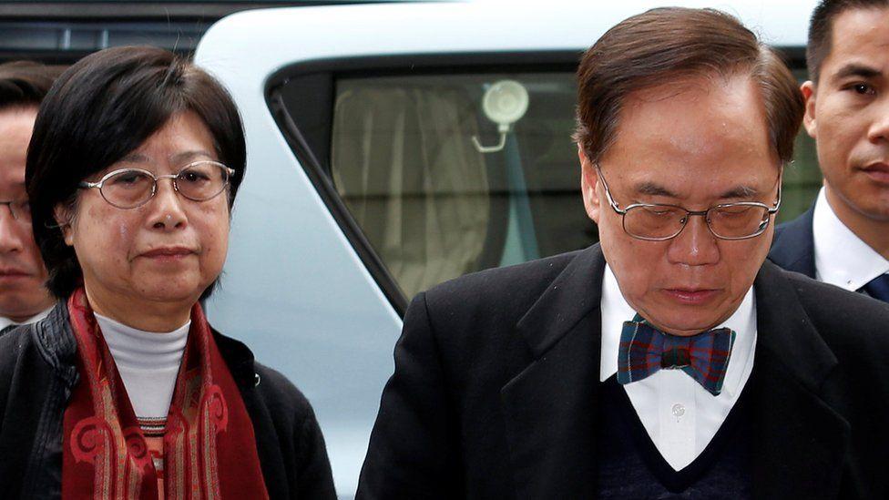Former Hong Kong Chief Executive Donald Tsang and his wife Selina arrive at the High Court in Hong Kong, China, 20 February 2017.