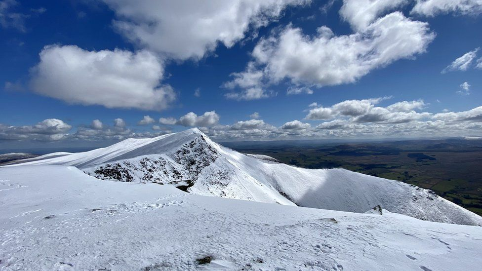 Snow at the top of Blencathra on Wednesday