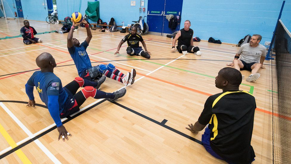 The Invictus sitting volleyball team during a training session