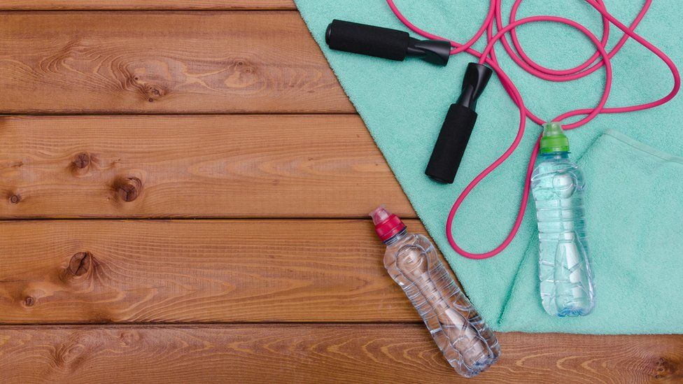 Water bottles and a skipping rope
