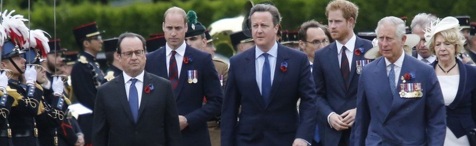 French President Francois Hollande with David Cameron, Prince Charles, the Duke of Cambridge and Prince Harry