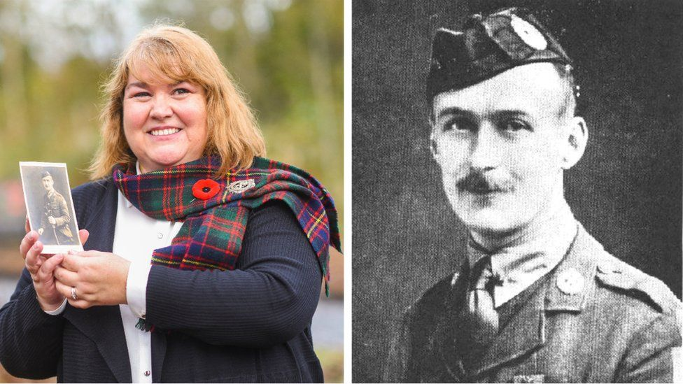 Janet Shankland-Huggins with a photo of her late grandfather Robert Shankland VC